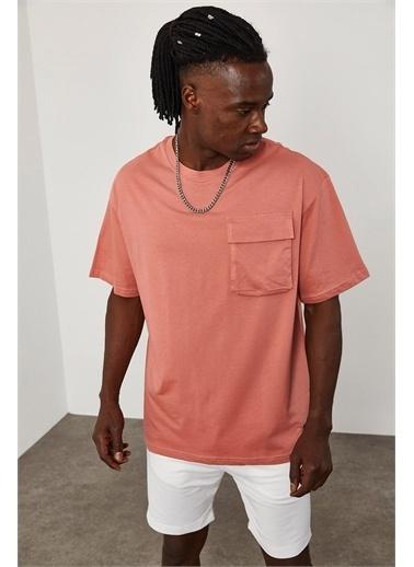 XHAN Cep Detaylı Oversize T-Shirt 1YXE1-45086-20 Pembe